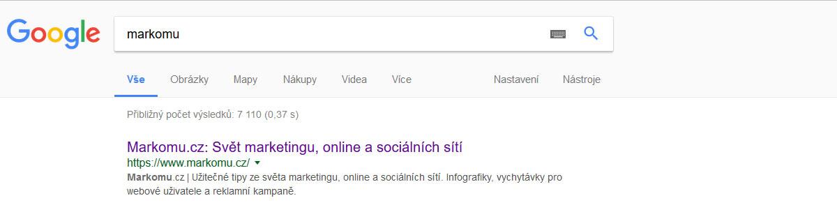 Výsledek vyhledávání v Google