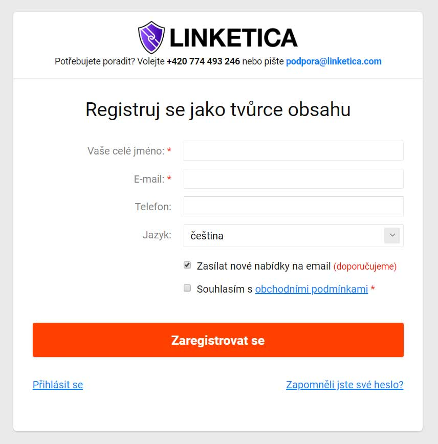 Linketica registrace